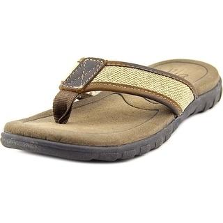 Crevo Mocha   Open Toe Canvas  Flip Flop Sandal