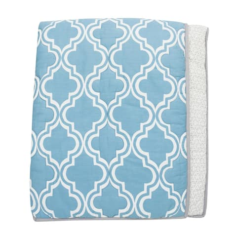 Lambs & Ivy Ryan Collection Blue/Gray Reversible Moroccan Pattern Coverlet Nursery Quilt