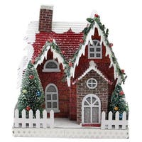 "7.5"" Holiday Moments LED Lit Holiday House Christmas Decoration –Warm White Lights - green"