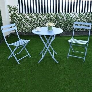 Costway 3 PC Folding Table Chair Set Outdoor Patio Garden Pool Backyard Furniture