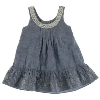 Polo Ralph Lauren Flounce Dress Embroidered Chambray - 2/2t