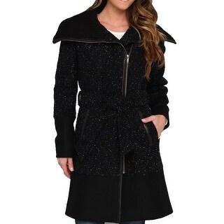 Cole Haan NEW Black Women's Size 10 Asymmetrical Belted Wool Coat