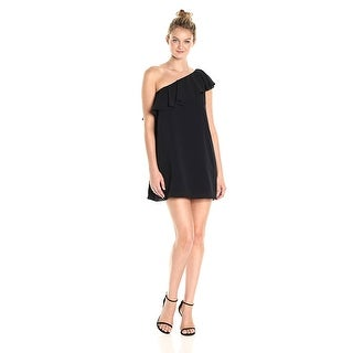 French Connection Summer Crepe Light One Shoulder Dress Black - xs