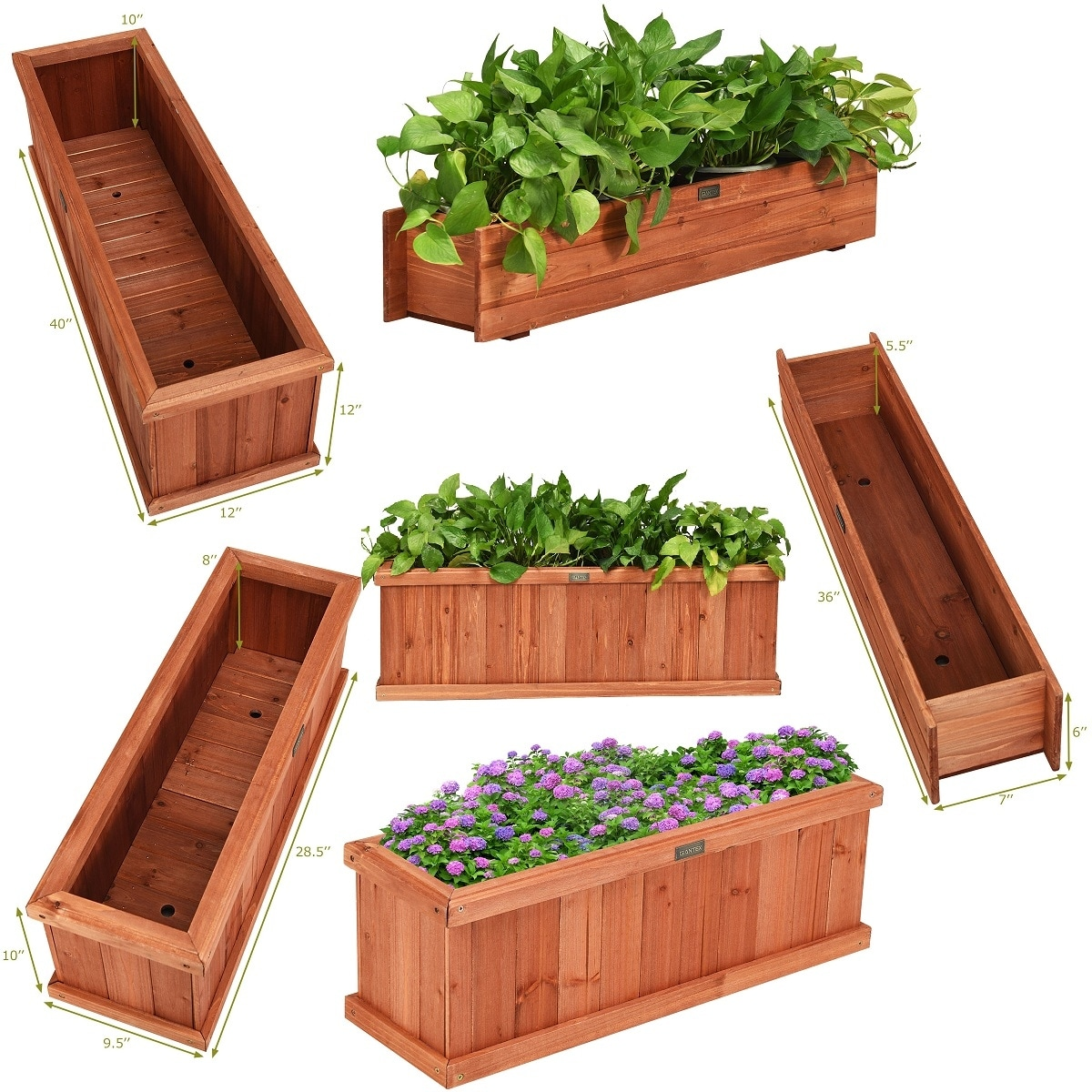 Image of: Shop Black Friday Deals On 28 36 40 Inch Wooden Flower Planter Box Garden Yard Decorative Window Overstock 28794934