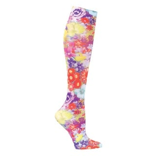 Women's Celeste Stein Printed Mild Compression Wide Calf Knee High Stockings - Watercolor Floral - Medium