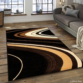 "Allstar Black Modern Contemporary Area Rug (3' 9"" x 5' 1"")"