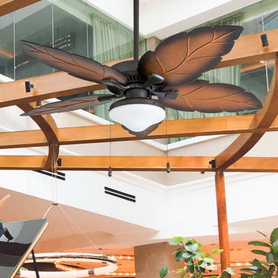 Prominence Home Delray Tropical Aged Bronze Damp Rated Ceiling Fan