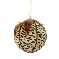 "Diva Safari Cheetah Print with Feathers Ball Christmas Ornament 4"" (100mm) - brown"
