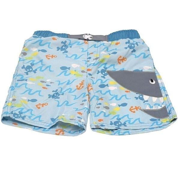 Sol Swim Little Boys Blue Fish Print Shark Mouth Applique Swimwear Trunks 2T
