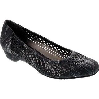 Ros Hommerson Women's Tina Flat Black Laser Stripe Fabric