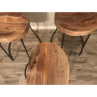 Wooden Saddle Seat Bar Stool with Iron Base, Small, Brown and Black