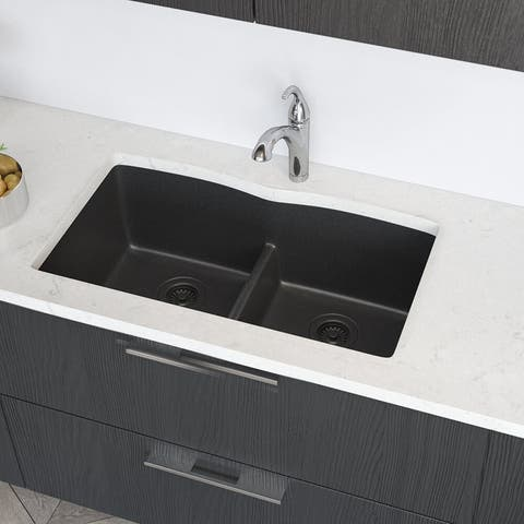 R3-1007 Low Divide Granite Quartz Kitchen Sink with Two Grids and Two Matching Colored Strainers