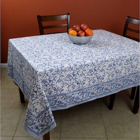 Rajasthan Floral Vine Cotton Block Print Rectangular Tablecloth Round Square