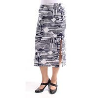KIIND OF Womens Navy Slitted Printed Tea Length Pencil Skirt  Size: M
