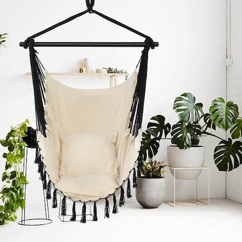 1.5*1.2m Tassel Plus Pillow Hanging Chair Beige Fabric Black Rope
