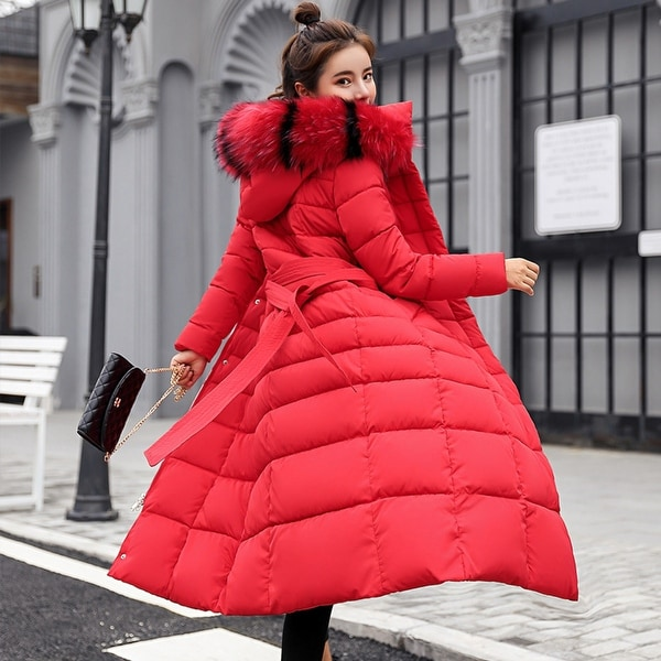 Women's new fashion Slim large size with colored fur collar down jacket