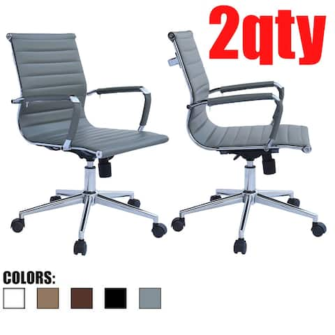 Set of 2 Office Chair With Wheels Ergonomic Executive PU Leather Arm Rest Tilt Adjustable Height Swivel Task Computer, Gray