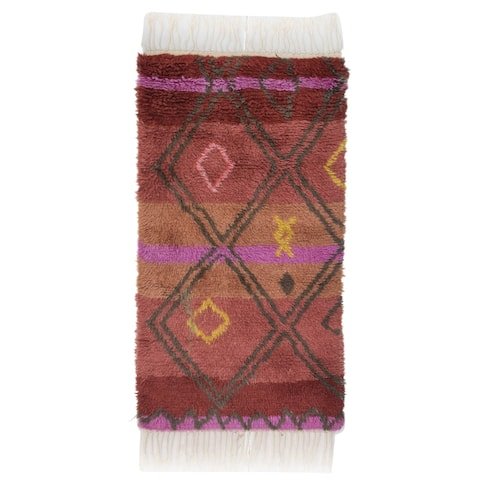 """One of a Kind Hand-Knotted Shag 3' x 5' Geometric Wool Pink Rug - 2'8""""x4'11"""""""