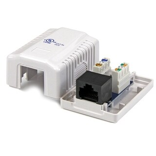 Startech Wallbox1wh Single Cat5e Rj45 Wall Jack White With Keystone Jack