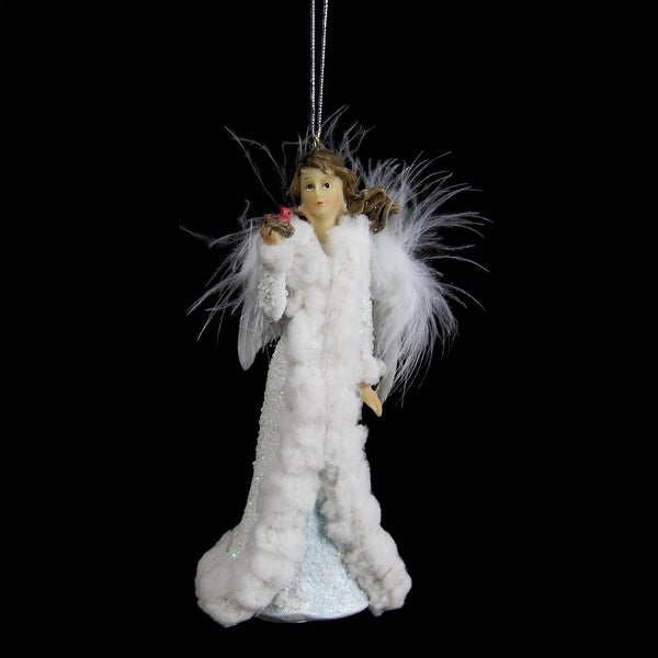 """5.25"""" Heavenly Angel with Red Cardinal Bird in a Nest Christmas Ornament"""