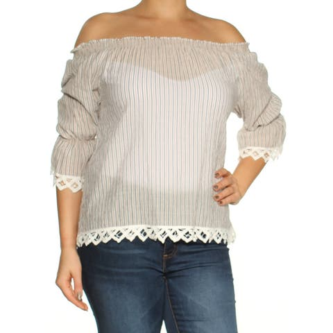fdb58c74974 MAX STUDIO Womens Beige Lace Striped 3/4 Sleeve Off Shoulder Peasant Top  Size: