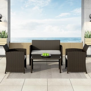 Link to Corvus Alsace 4-piece Outdoor Rattan Sofa Conversation Set with Cushions Similar Items in Outdoor Sofas