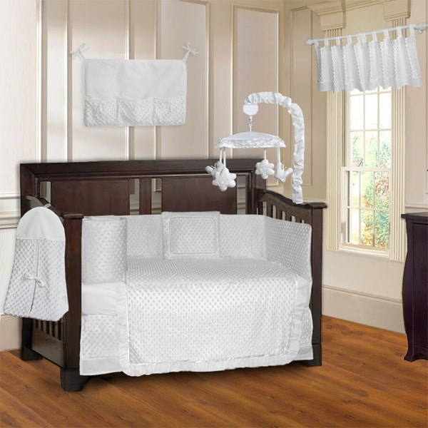 BabyFad Minky Ultra White 10 Piece Baby Crib Bedding Set