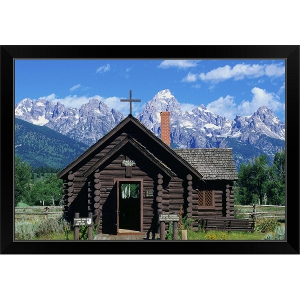 """""""The Chapel of the Transfiguration, Wyoming"""" Black Framed Print"""