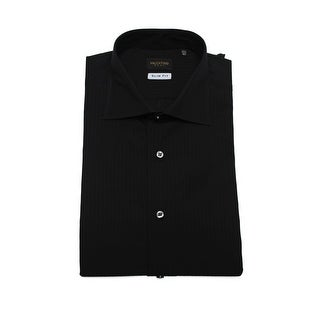Valentino Men's Slim Fit Cotton Dress Shirt Pinstripe-Black-Black
