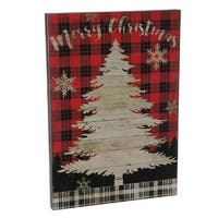 "18"" Holiday Moments Red and Black ""Merry Christmas"" with Tree Plaid Wall Art"