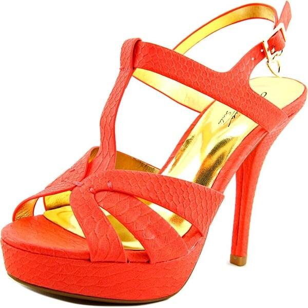 Thalia Sodi Raquell Women Open Toe Synthetic Orange Platform Sandal