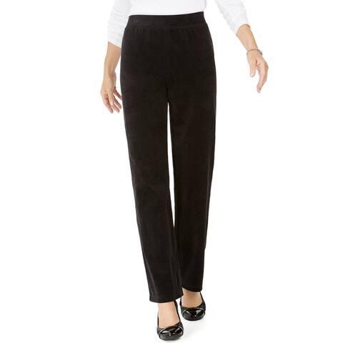 Karen Scott Women's Petite Velour Pull-On Pants Black Size Petite