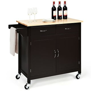 Costway Modern Rolling Kitchen Cart Island Wood Top Storage Trolley