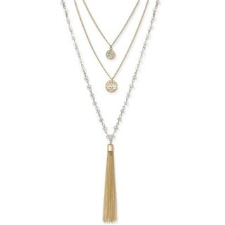 Inspired Life Multi-Layer Tassel Pendant Necklace Rose Gold