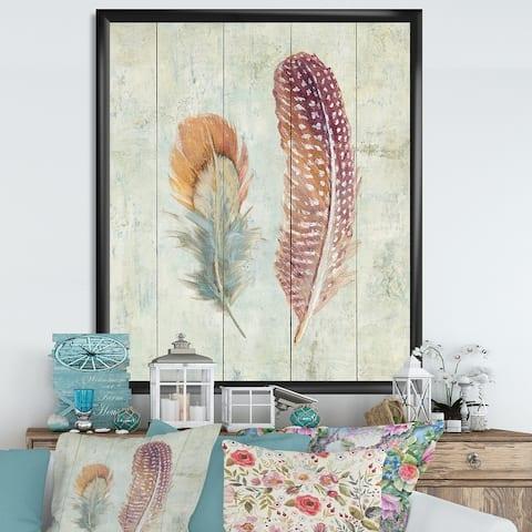 Designart 'Natural Feathers on Wood II' Farmhouse Framed Art Print
