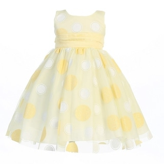 Girls Yellow Glittered Polka Dot Tulle Easter Dress 7-10