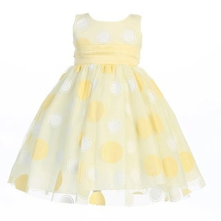Little Girls Yellow Glittered Polka Dot Tulle Easter Dress 2T-6