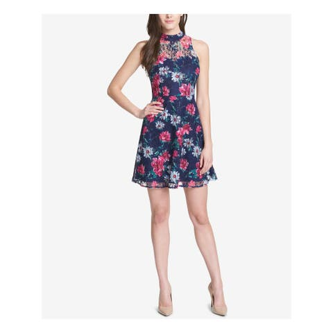 KENSIE Womens Navy Floral Sleeveless Mini Fit + Flare Dress Size 6