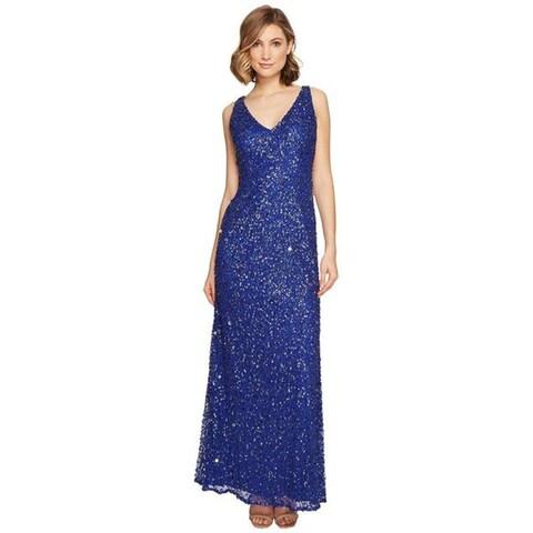 Adrianna Papell Sleeveless Beaded Mermaid Gown, Neptune, 0