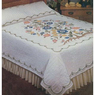 """Stamped Cross Stitch Quilt 90""""X103""""-Tree Of Life"""