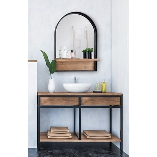 Link to Kate and Laurel Owing Framed Arch Mirror with Shelf - Black - 24x32 Similar Items in Mirrors