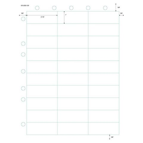 Laser Labels (Second Sheet) 30 Up (Carton of 1000) - White - 8-1/2 x 11 in