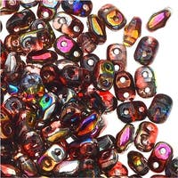 Czech Glass MiniDuo, 2-Hole Beads 2x4mm, 8 Gram Tube, Magic Red Brown
