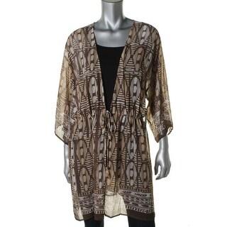 Nic+Zoe Womens Chiffon Kimono Sleeves Wrap Top