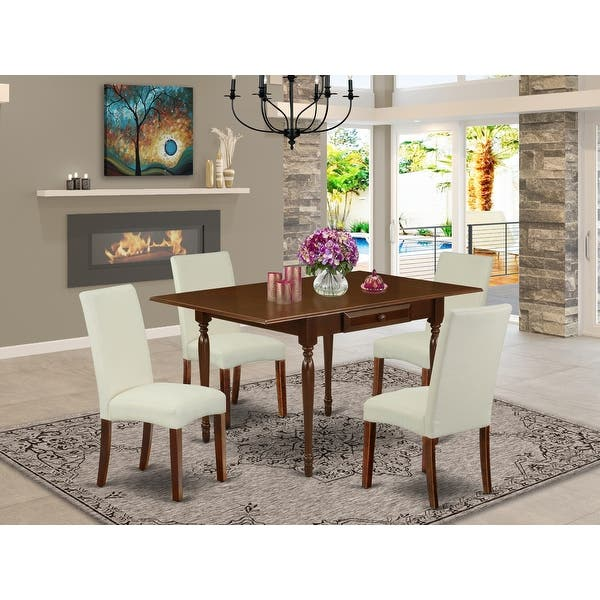 Dining Table And Parson Dining Chairs With Cream Color Linen Fabric Upholstery Seat Number Of Chairs Option Overstock 32448365