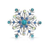 Bling Jewelry Imitation Sapphire Crystal Snowflake Pin Rhodium Plated