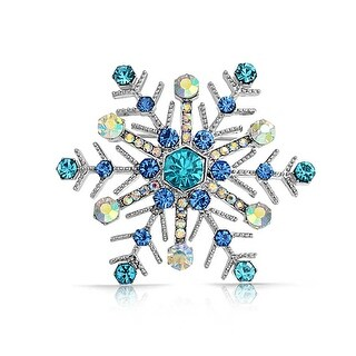 Bling Jewelry Imitation Sapphire Crystal Snowflake Pin Rhodium Plated
