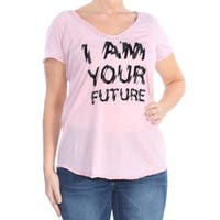 WILLIAM RAST Womens Pink Printed Short Sleeve V Neck T-Shirt Top  Size: L
