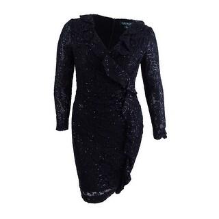 Lauren by Ralph Lauren Women's Ruffled Lace Dress - Black