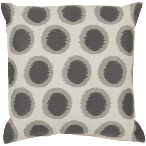 "18"" Ecliptic Cream White and Smoke Gray Decorative Square Throw Pillow"